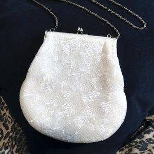 "Handbags - Beautifully beaded white 7.5"" purse"